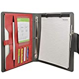3 Ring Binder Padfolio File Folder, Business and Interview Portfolio with 3-Ring Binder, Clipboard (Red)
