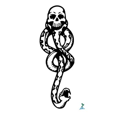 Yeeech Temporary Tattoos Stickers Waterproof Magic Snake Skull Designs Black for Arm (2 Sheets)