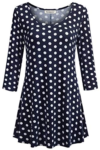 Nandashe Sweatshirts for Women, Cute Girls Nice Round Collared Half Sleeve Spots Printing Loose Swing Dress Tops Back to School Surrounding The House XL Navy White