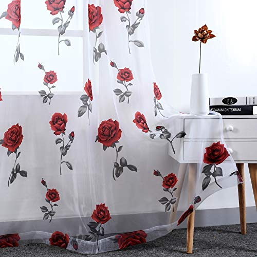 Rod Pocket Sheer Curtains for Living Room 84 Inches Long Red Rose Curtain Panels Sheer Drapes for Girl Bedroom 2 Panels