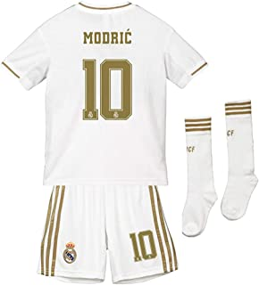 Saint George Real Madrid 2019-2020 New Season #10 Modric Home Kids/Youths Soccer Jersey & Shorts & Socks White (6-13years)