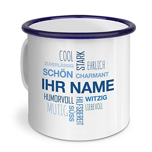 printplanet® Emaille-Tasse mit Namen personalisiert - Motiv Positive Eigenschaften (Modern) Blau - Nostalgie-Becher, Camping-Tasse, Blechtasse,Farbvariante Blau
