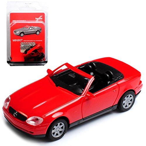 Herpa Mercedes-Benz SLK R170 Cabrio Roadster Rot 1. Generation 1996-2004 Bausatz Kit H0 1/87 Modell Auto mit individiuellem Wunschkennzeichen
