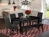 6Pc Rectangular 60 Inch Dining Table And Four Parson Chair With Black Finish Leg And Linen Fabric- Black Color Plus 1 Bench