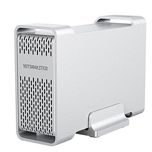 "Yottamaster 2.5 Inch USB 3.0 External Hard Drive RAID Enclosure 5Gbps 2 Bay for 12.5mm 9.5mm 7mm 2.5"" SATA HDD/SSD"