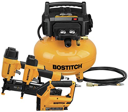 BOSTITCH Air Compressor Combo Kit, 3-Tool (BTFP3KIT) , Yellow , 21.1 x 19.5 x 18 inches