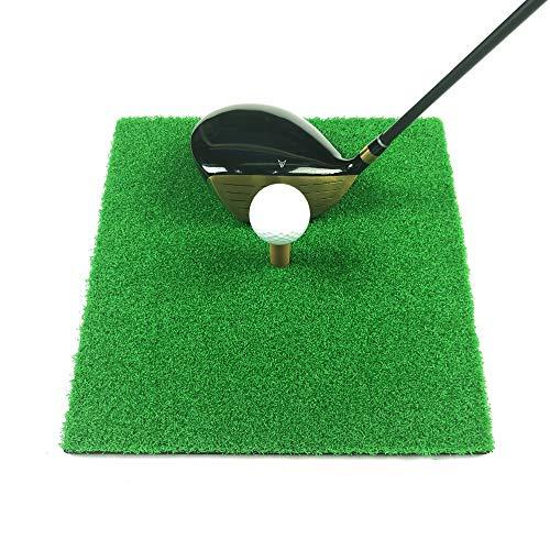 MAZEL Esterilla de golf portátil – Mini alfombrilla de práctica residencial con soporte de goma en T y bola, gran ayuda para entrenamiento de golf para interiores y exteriores y patio trasero