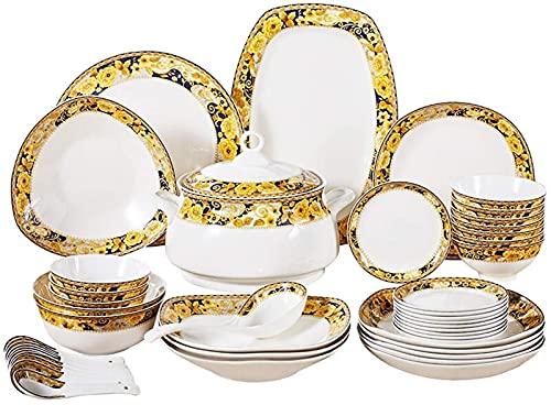JXH Juegos de platos de cena, vajilla de cerámica con 46 piezas, tazón/plato/sopa/cuchara   juegos de cena de hueso China, conjunto de combinación de porcelana de estilo europeo, Euro Ceramica