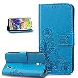 Kompatibel mit Huawei Y625 Hülle,Huawei Y625 Handyhülle,Prägung Klee Blumen Muster PU Lederhülle Flip Hülle Cover Schale Ständer Wallet Case Handyhülle Schutzhülle für Huawei Y625,Klee Blumen:Blau
