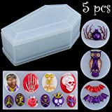 5 Pieces Halloween Resin Silicone Molds Set, Box Molds Resin Coffin Molds Including Skulls Silicone Pendant Series, Bat, Spider, Owl Jewelry Casting Molds Silicone for DIY Jewelry Craft Making