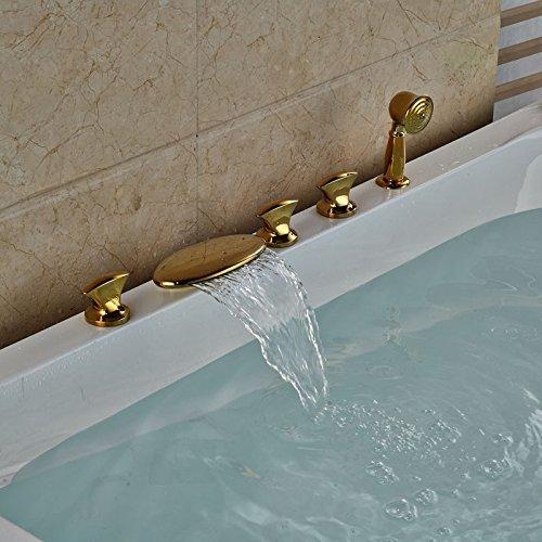 Goldene Badewanne Armatur Wasserfall Auswurfkrümmer verbreitet 5 Löcher Whirlpool Mischbatterien