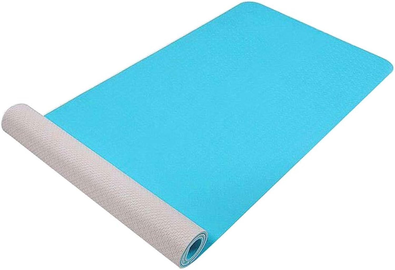 YUN-X Zweifarbige Zweifarbige TPE-Yogamatte verbreitert 183  65  0,6 (cm)   Sportmatte für Herren und Damen umweltfreundliche rutschfeste Fitnessmatte