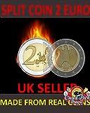 CLOSE UP MAGIC €2 SPLIT COIN - 2 EURO SPLIT COIN MAGIC TRICK COIN THROUGH BAG