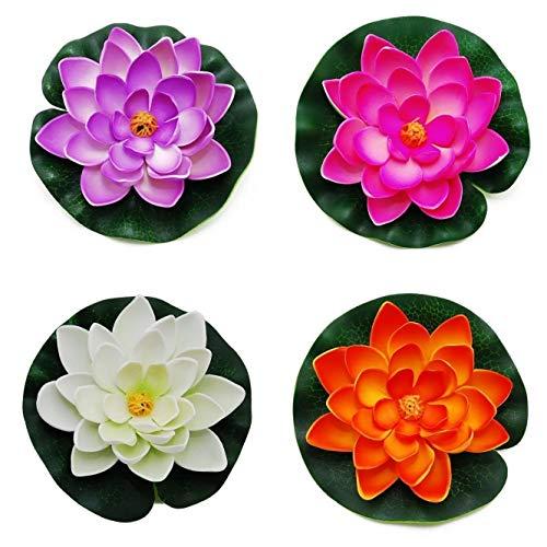 Oulensy 4Pcs étang Flottant Décor Nénuphar/Lotus Mousse Petite Fleur