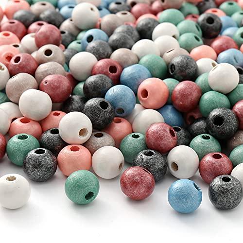 HERZWILD bunteholzperlenzum auffädeln 500stk holzperlefarbig bastelnperlen f. DIY schmuck Herstellung (Pearl color)