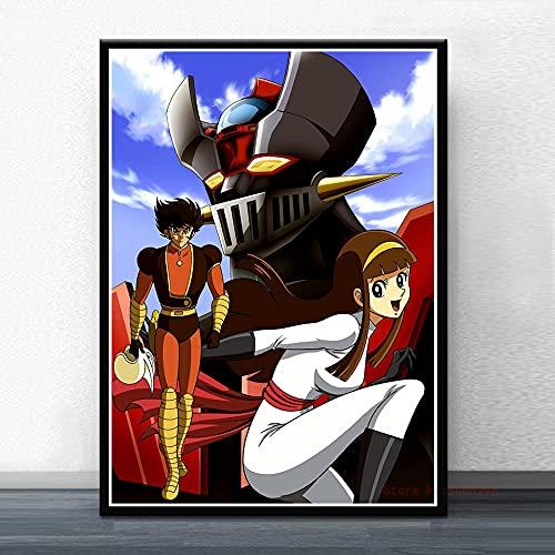 qiaolezi Mazinger Z Infinity película Japonesa Manga Anime Carteles e Impresiones Pintura Arte Cuadros de Pared para habitación de niños Regalo A474 50 × 70 CM sin Marco