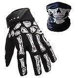 K-mover Full Finger Gloves Silica Shock-Absorbing Bike Gloves Skeleton Knight Gloves + Cycling Skull Face Mask (Large Gloves + Mask)