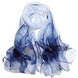 LDCSA Pañuelo Seda Mujer Cuello Bufanda Mantón Elegante Regalo de Mujer 175 X 65cm(Azul blanco)