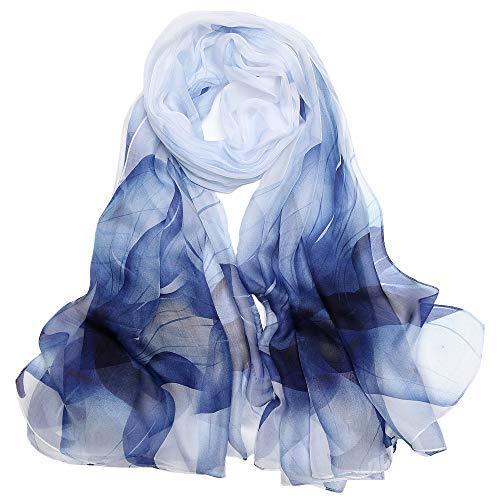 Foulard Femme Soie de Mûrier 100% Léger Écharpe Cadeau Silk Scarf 175 x 65cm(Bleu blanc)