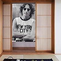 ドアカーテン, John Lennon New York ジョン・レノン 遮熱 カーテン おしゃれ 和風 断熱 仕切りカーテン 部屋仕切り 玄関 キッチン リビング 飲食店 出入り口 幅86㎝x丈143㎝