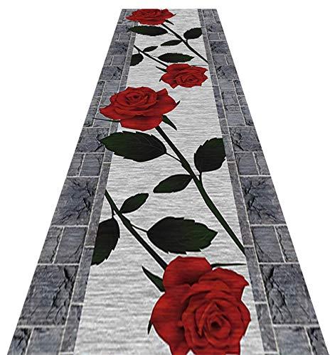 YYQIANG Alfombra de pasillo de diseño moderno para entrada de pasillo, antideslizante, lavable, ancho: 60 cm, 70 cm, 80 cm, 90 cm, 100 cm, 110 cm, 120 cm, moderno y duradero
