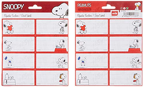 Grupo Erik Editores ELE0252 - Pack de 16 etiquetas con diseño Snoopy, 15.8 x 20 cm