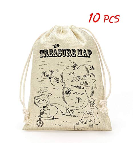 Pirate Treasure Map Bags- Treasure Map Party Accessory, Kids Party Supplies- Set of 10