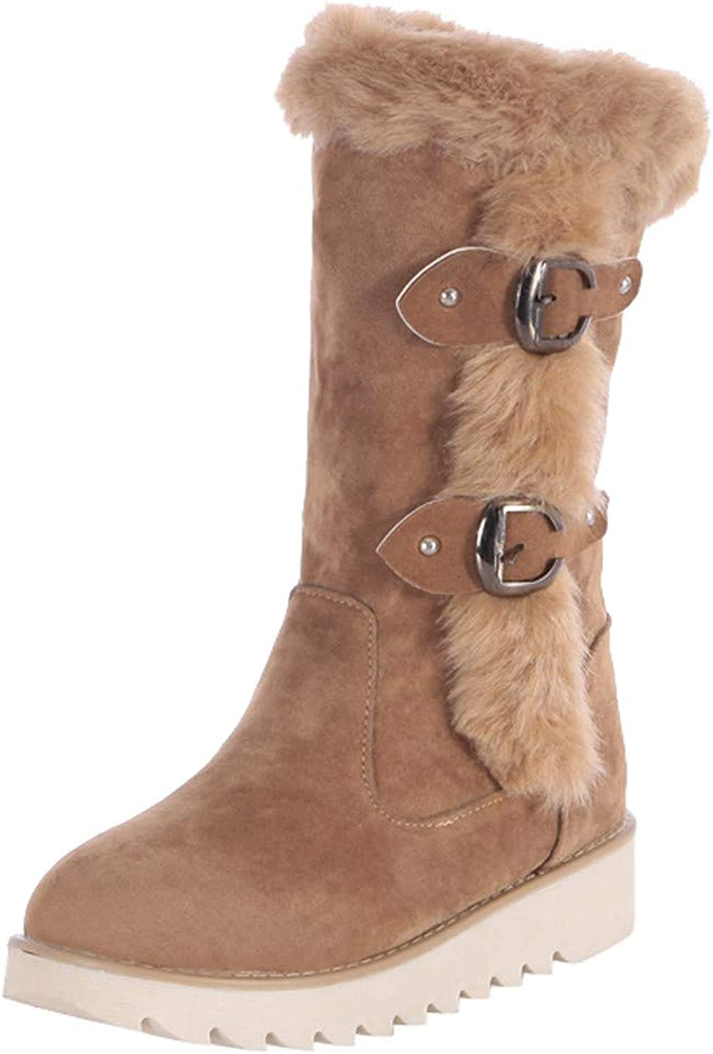 JESPER Women Winter Suede Ankle Boots Buckle Strap Furry Edge Warm Middle Tube Snow Boots