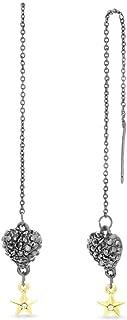 Steve Madden Women's Caviar Heart with Star Design Rolo Chain Drop Earrings