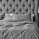 Oasis Fine Linens Vintage Washed Linen Duvet Cover Set (Full/Queen, Driftwood)