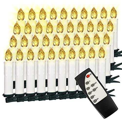 VASEN LED Christbaumkerzen Kabellos mit Fernbedienung Warmweiß Weihnachtsbaumkerzen Flammenlos Weihnachtskerzen 40er