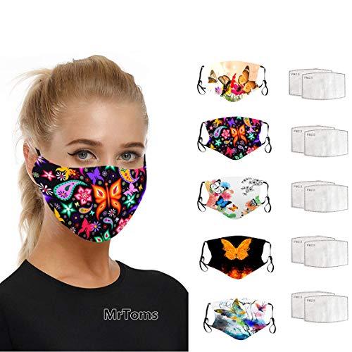 MrTom 5PCS Mujer Bonitas con 10 Filtro Mariposas Tela de Reutilizables Lavables con Filtro (A)