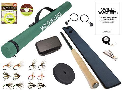 Wild Water Fly Fishing 12' Tenkara Fly Rod Complete Combo Starter Package with Tenkara Flies