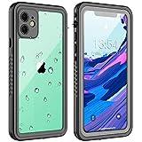 GOLDJU iPhone 11 Waterproof Case【2020 New】 360°Protective Built-in Screen Protector IP68 Underwater Shockproof Waterproof Case for iPhone 11 6.1 inch (Black Clear)