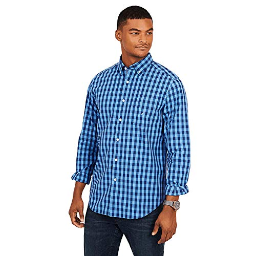 Nautica Men's Long Sleeve Classic FIT Gingham Shirt (Rivera Blue) WR8351 (L)