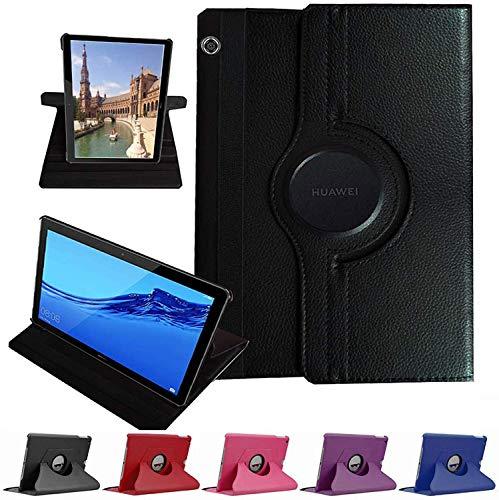 MUNDDY- Funda GIRATORIA 360º con Soporte para Huawei MediaPad M5 Lite 10,rotable 360° (Negro)