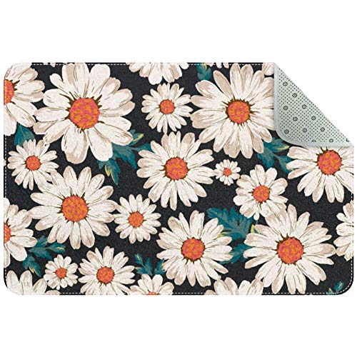 Yoliveya - Felpudo suave con diseño de margaritas y flores absorbentes antideslizantes para entrada en casa, oficina, 24 x 16 pulgadas
