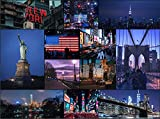 New York at Night 500 Piece Jigsaw Puzzle - New York City Puzzle for Adults & Families. Times Square, Central Park, Brooklyn Bridge, Statue of Liberty etc. - NYC USA Skyline Photo Collage