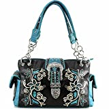 Justin West Embroidery Floral Rhinestone Silver Cross...