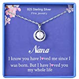 Nana Gifts Grandmother Necklace 925 Sterling Silver Single Pearl Pendant Moon Crystal CZ Cubic Zirconia Crystal Jewelry Grandma Nanna Birthday Mother's day Gift