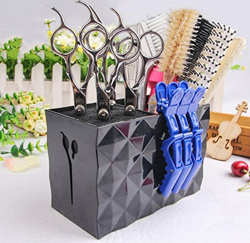 Professional Salon Scissors Holder Rack, Shear Holder,Modern Hairdressing Combs Clips Desktop Desk Organizer Accessories for Hair Stylist Office Home,Hairdresser Scissor Storage Case Keeper. - Black