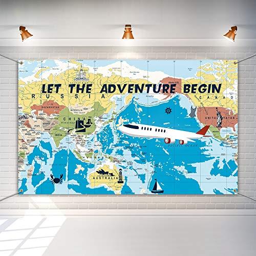 Fondo Adventure Awaits Pancarta Temática Viaje Grande