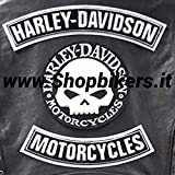 Skull Willie G.Harley Davidson Patch Patches Parches para chaleco o chaqueta, tamaño grande (3 unidades)