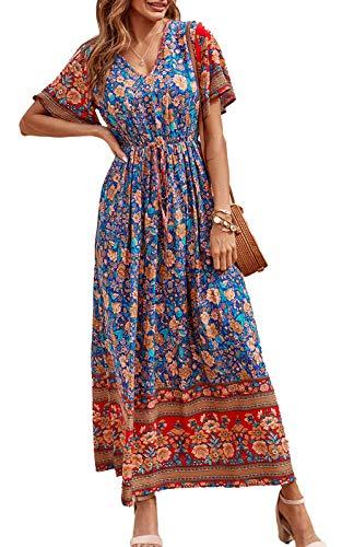 PRETTYGARDEN Women's Casual Floral Print V Neck Short Sleeve Summer...