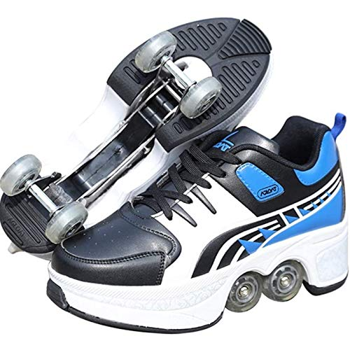 XFY Kick Roller Shoes Roller Skates - 2 in 1 Removable Pulley Skates Skating - Double-Row Deform...