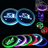 2pcs Luces Portavasos LED,Posavasos LED Coche,7 Colores Estera De Bebida De Taza De Agua,Taza De Carg USB para Accesorios De Posavasos Decoración Interior Ambiente Luz (G)