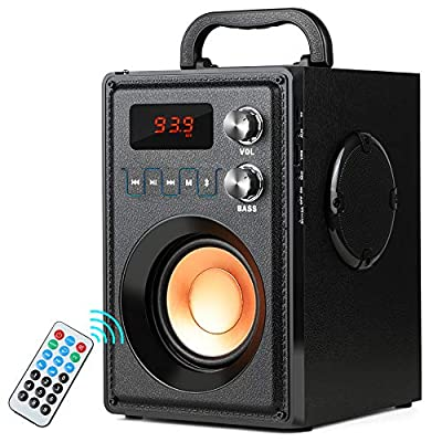 TAMPROAD Portable Bluetooth Speaker 20W Subwoofer Heavy Bass Wireless Outdoor/Indoor Speaker Big Power Speakers Support Remote Control FM Radio TF Card LCD Display for Home Party Phone Computer PC from TAMPROAD