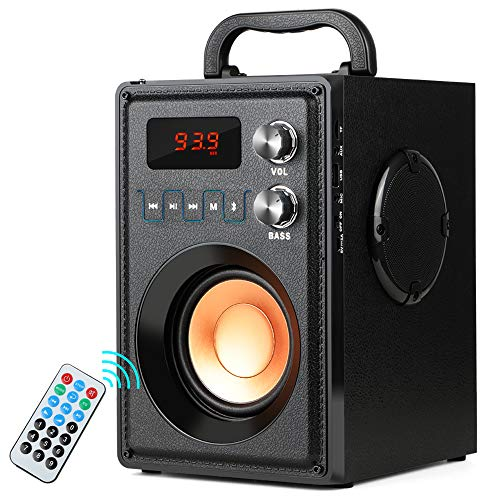 TAMPROAD 20W (30W Peak) Portable Bluetooth Speaker with Subwoofer Rich Bass Wireless Stereo Outdoor Indoor Speakers Support Remote Control FM Radio TF Card for Home Party Smartphone Computer PC