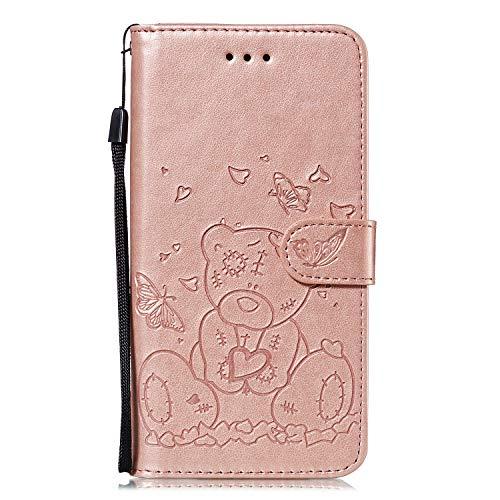 Schutzhülle für iPhone SE, iPhone 5S, 5, stoßfest, 3D-Spielzeug, Bär, Liebe, Herz, Geldbörse, PU-Leder, mit Ständer, magnetisch, Folio, Silikon, Bumper, Gel, Schutzhülle für iPhone SE 5S 5, Rotgold