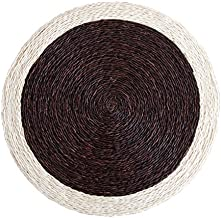 Zeal Living Hand Woven Place Mat, Chocolate Brown with Cream Trim - Set of 2